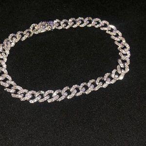 14k Solid White Gold & Diamond Cuban Link Bracelet